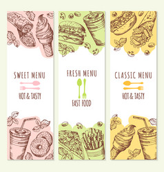sketch of three banners set with fast food vector image