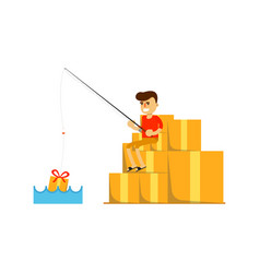 Smiling man fishing on pile of boxes icon vector