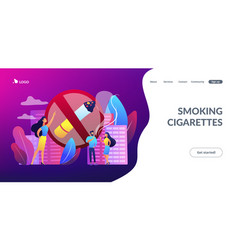 Smoking cigarettes concept landing page vector