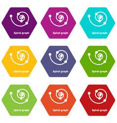 Spiral graph icons set 9 vector