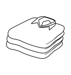 Stacked folded clothes icon cartoon black and vector