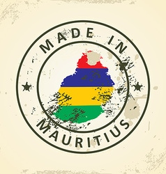 Stamp with map flag of Mauritius vector