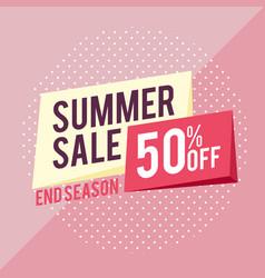 summer sale 50 off end season pink background vec vector image