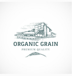 The organic grain elevator abstract sign vector