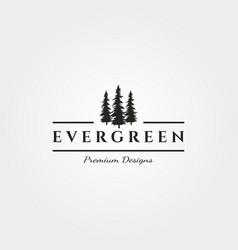 Three pines logo evergreen minimalist symbol vector