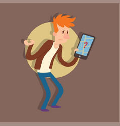 Traveler man people searching right direction vector