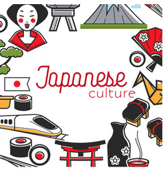 Traveling japanese culture japan symbols frame vector