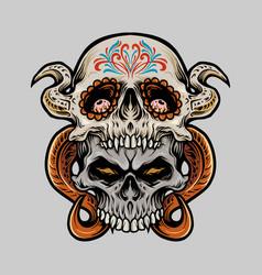 two sugar skull muertos vector image