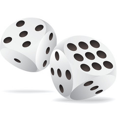 Two white dices in motion vector image