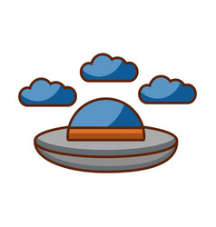 ufo flying with clouds vector image