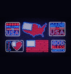 usa flag badges collection neon sign i vector image