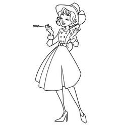 vintage girl line art vector image