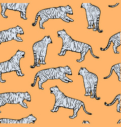 wild tigers tribal style seamless pattern vector image