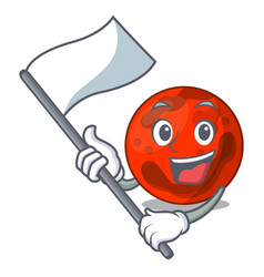 With flag mars planet mascot cartoon vector
