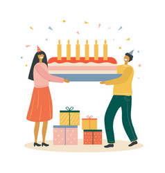 Woman gives a man a birthday gift vector