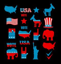 american elections icon set republican elephant vector image