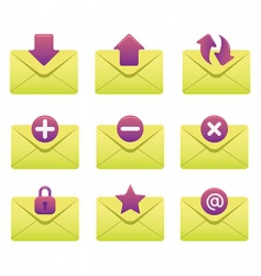 internet icons envelopes vector image vector image