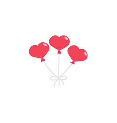 red hearth shaped balloons icon vector image vector image