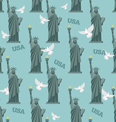 Statue of Liberty and pigeon seamless pattern vector image