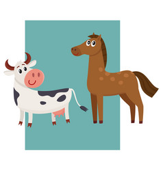 Brown horse black and white cow with big eyes vector