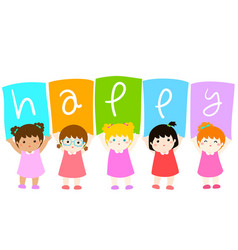 kids holding hello board vector image vector image