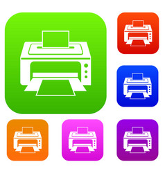 printer set collection vector image vector image