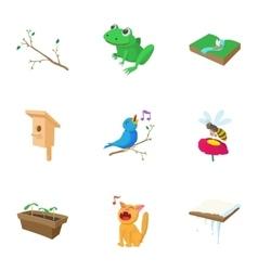 Season spring icons set cartoon style vector image