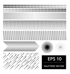 set of abstract halftone element vector image