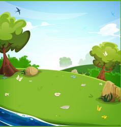 spring landscape background with river vector image