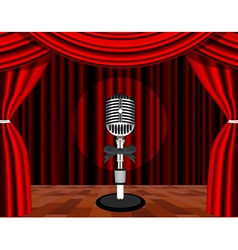 a microphone on a stage with a spotlight on it vector image