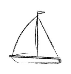 blurred thick silhouette of sailboat icon vector image