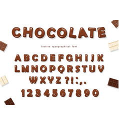 chocolate font design sweet glossy abc letters vector image vector image
