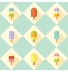 Flat seamless pattern with popsicles vector image