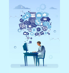 man using computer with chat bubble of social vector image