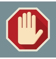 STOP Red octagonal stop hand sign vector image vector image