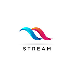 abstract dynamic stream logo sign symbol icon vector image