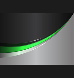 abstract green line curve on black gray design vector image