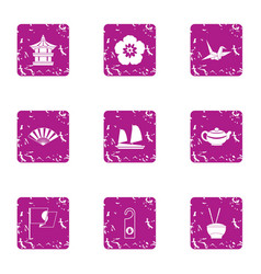 Asian aesthetic icons set grunge style vector