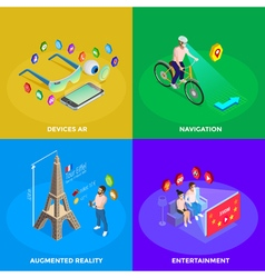 Augmented Reality 4 Isometric Icons Square vector image