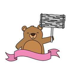 baby bear with board vector image