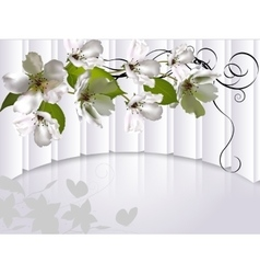 Background with flowers Apple tree vector