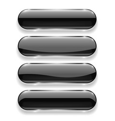 Black oval buttons with reflection vector