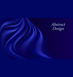 Blue silk wavy background deep swirl curtain vector