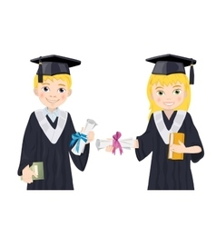 Boy and girl in Graduate Costumes vector image