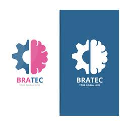 brain and gear logo combination education vector image