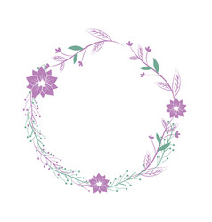 Branches with leaves and flowers decoration vector