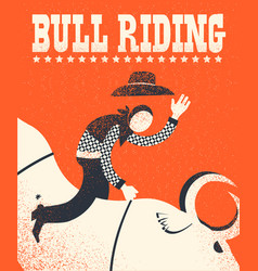 Bull riding poster american bull riding chempion vector
