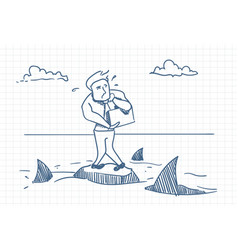 business man doodle standing on rock with sharks vector image