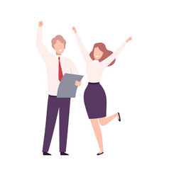 business people celebrating victory male and vector image