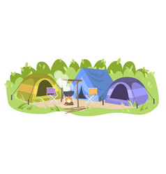 Campsite with no people flat forest camp tents vector